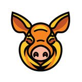 Funny smiling orange pig. Pig head mascot emblem - vector image of swine head Royalty Free Stock Photo