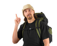 Funny smiling packpacker Stock Image