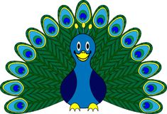 Funny smiling peacock character Stock Photo