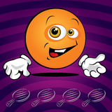 Funny smiling ping pong ball. On the violet background Royalty Free Stock Photos