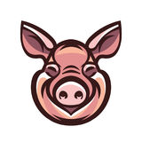Funny smiling pink pig. Icon or sign logo template mascot emblem Royalty Free Stock Images