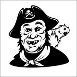 Funny smiling pirate with a parrot Stock Photo