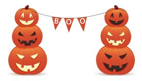 Funny smiling pumpkins with inscription boo. Illustration Royalty Free Stock Images