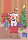 Funny smiling Santa Claus brings colorful boxes of gifts.. Funny smiling Santa Claus brings gifts in colorful boxes. Christmas decorated room with fireplace Royalty Free Stock Images