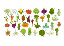 Funny smiling vegetables and greens, characters for your design royalty free illustration