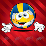 Funny smiling volley ball. On the red background Royalty Free Stock Image