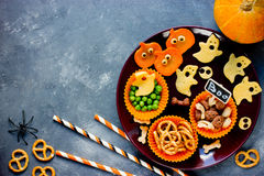 Funny snack for Halloween, healthy and cute party snacking. Top view Royalty Free Stock Image