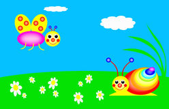 Funny snail and butterfly. Are in the meadow, colors of the rainbow Royalty Free Stock Image
