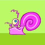 Funny snail crawling vector illustration Royalty Free Stock Photography
