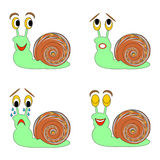 A funny snail expressing different emotions. Vector-art illustration on a white background Royalty Free Stock Image