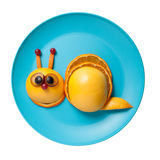Funny snail made of fruits Royalty Free Stock Images