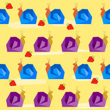 Funny snail and strawberry. Cartoon bright colored graphic abstract seamless pattern illustration Royalty Free Stock Photography