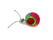 Funny snail woven of wool. Isolated on a white background Royalty Free Stock Image