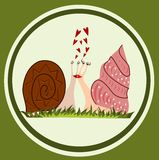 Funny snails in love. Illustration of funny snails in love with green background Royalty Free Stock Photography