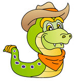 Funny snake. Wild west style; cowboy costume, vector illustration Royalty Free Stock Photography