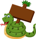 Funny snake with blank sign Royalty Free Stock Image