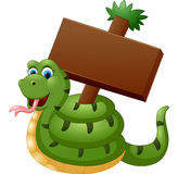 Funny snake with blank sign Royalty Free Stock Photos