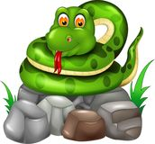 Funny snake cartoon posing on stone with smile and sticking her tongue out. Vector illustration of funny snake cartoon posing on stone with smile and sticking Royalty Free Stock Photo