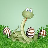 Funny snake with chocolate Easter eggs. Illustration of Funny snake with chocolate Easter eggs on green background Stock Photo