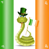 Funny snake with Ireland flag Royalty Free Stock Image