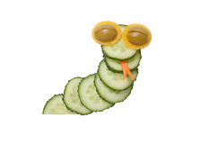 Funny snake made of cucumber Stock Photos