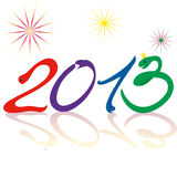Funny snakes and symbols of 2013 New Year on the w Stock Image