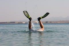 Funny snorkel man Stock Image