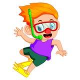 Funny snorkeling boy. Illustration of funny snorkeling boy stock illustration