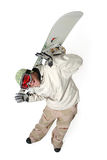 Funny Snowboarder isolated on white. Man holding a snowboard having fun isolated on a white background Royalty Free Stock Photo