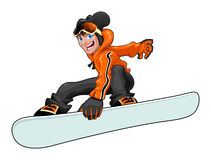 Funny snowboarder Stock Images