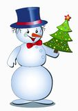Funny snowman. Funny snowman isolated on the white. Vector  illustration Stock Images