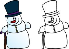 Funny snowman. Winter and christmas theme. vector image Royalty Free Stock Images