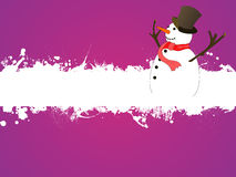 Funny snowman. Illustration of a snowman on an asbtract grunge background Royalty Free Stock Photo