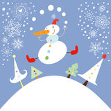Funny Snowman Stock Photo