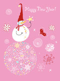 Funny Snowman. On New Year's ball on a pink background Stock Image