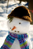 Funny snowman. Snowman with a hat and scarf Royalty Free Stock Photography