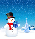 Funny Snowman. This image is a vector file representing a 3d happy snowman with a gift,  all the elements can be scaled to any size without loss of resolution Royalty Free Stock Photo