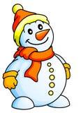 Funny Snowman. Christmas Theme; New Year Theme;  Vector Illustration Stock Image