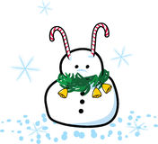 Funny snowman. Vector illustration of an funny snowman with lollipops Royalty Free Stock Image