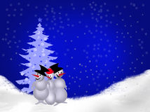 Funny snowman on the background of the Christmas t Royalty Free Stock Photography