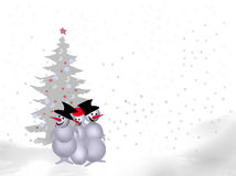 Funny snowman on the background of the Christmas t Royalty Free Stock Photos