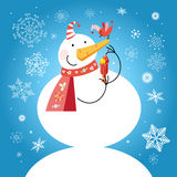 Funny snowman with a bird Royalty Free Stock Image