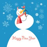 Funny snowman with a bird Royalty Free Stock Photography