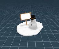 Snowman and blank sign. Funny snowman and blank wooden sign on little snow isle - 3d illustration Stock Photo