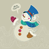 Funny snowman card. Merry Christmas card. Design template. Vector gift card. Cute snowman on winter background. Character can be used for invitation, cards Royalty Free Stock Image