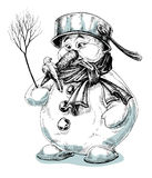 Funny snowman. Funny cartoon snowman  drawing Stock Photography