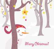 Funny snowman christmas greetings card. Funny snowman in fantasy wood christmas greetings card. Hand drawn vector illustration Stock Photo