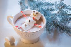 Funny snowman for Christmas in hot chocolate Stock Image