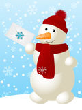 Funny snowman. With Christmas letter Stock Images