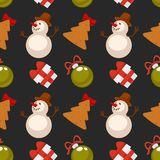 Funny snowman, Christmas tree cookie and gift box seamless pattern. Funny snowman in tall hat, Christmas tree cookie, decorative shiny glass balls and gift box Royalty Free Stock Photos